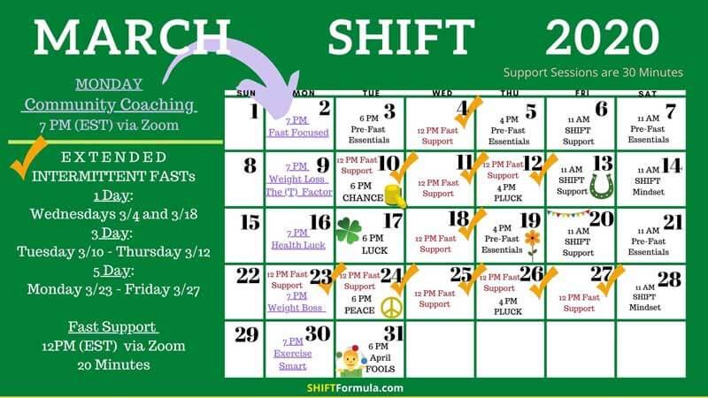 SHIFT Formula Life Coaching Calendar - March 2020